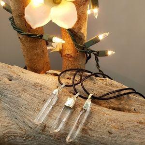 Natural raw clear crystal quartz charm on cord